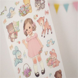 $VN 6pack/lot Cute Sweet Girl sticker Toys Lovely girl doll sticker