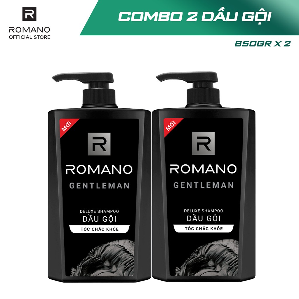 [Mã COSWIP -8% đơn 250K] Combo 2 Dầu gội Romano hương nước hoa 650g x 2
