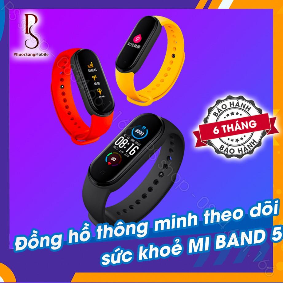 Vòng tay theo dõi sức khoẻ Xiaomi Mi Band 5 / Đồng hồ thông minh Miband 5 - Tặng kèm dán màn hình [ Bảo hành 6 tháng ]
