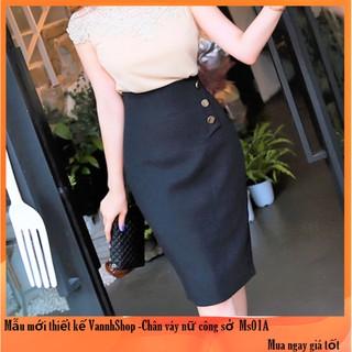 Chân váy bút chì Váy đẹp thiết kế cao cấp màu đen chất liệu vải nhập co giãn tốt MS01 VannhShop
