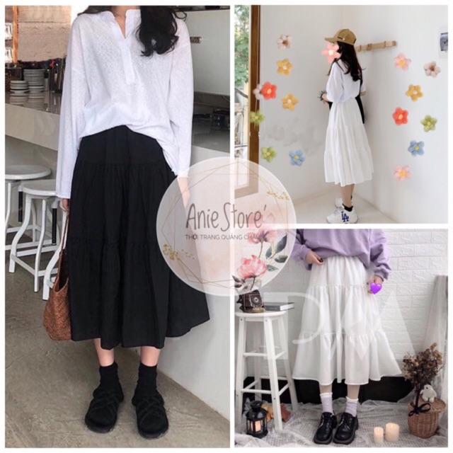 💃 Chân váy Vintage HÀN QUỐC 2 màu⚪️⚫️