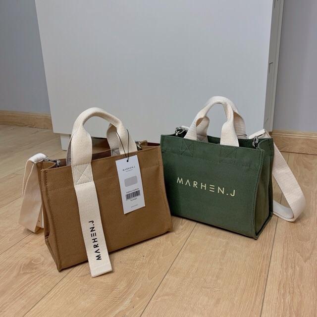 Túi vải đeo chéo xách tay thời trang in Marhen J, túi tote đeo chéo vải canvas thời trang phong cách Hàn Quốc