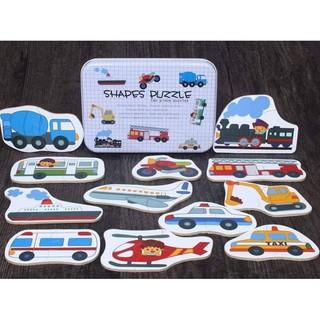 Ghép hình puzzle 2 mảnh hộp sắt – mẫu phương tiện giao thông