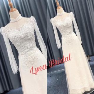 Áo dài dâu trắng xinh đẹp giúp cô đâu ngày cưới thêm xinh đẹp lộng lẫy. thumbnail
