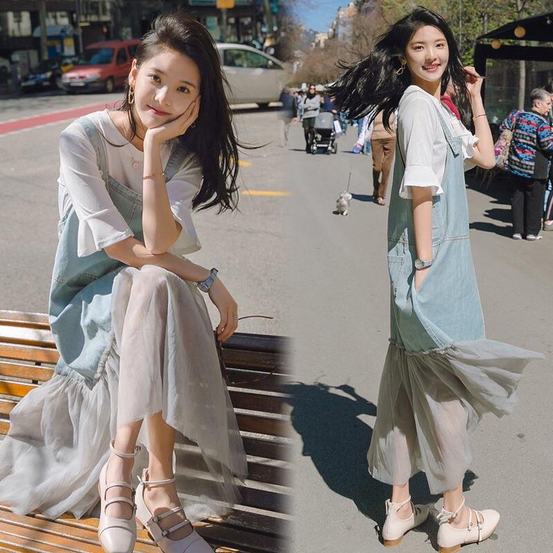 đầm yếm vải jean xinh xắn cho phụ nữ mang thai