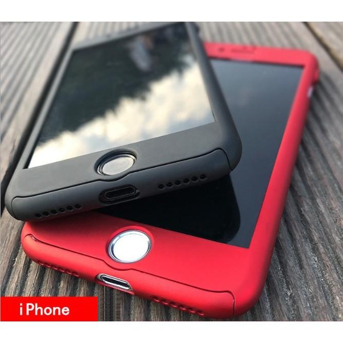 Ốp lưng Iphone 5/5s, 6/6s, 6/6s Plus 7/8, 7/8 Plus chống sốc 2 mặt (có kính cường lực)