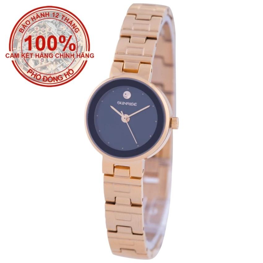 Đồng hồ nữ dây kim loại mặt kính sapphire chống xước Sunrise SL9929LK (Đen)
