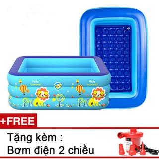 Bể bơi phao 3 tầng 1m5, tặng kèm bơm điện wenbo,phao đỡ cổ cho bé