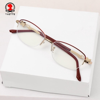 YVETTE Luxury Presbyopic Eyeglasses Radiation Protection Metal Frame Eyewear Anti Blue Light Reading Glasses Anti-UV Women Fashion Transparent Anti-fatigue Computer Goggles