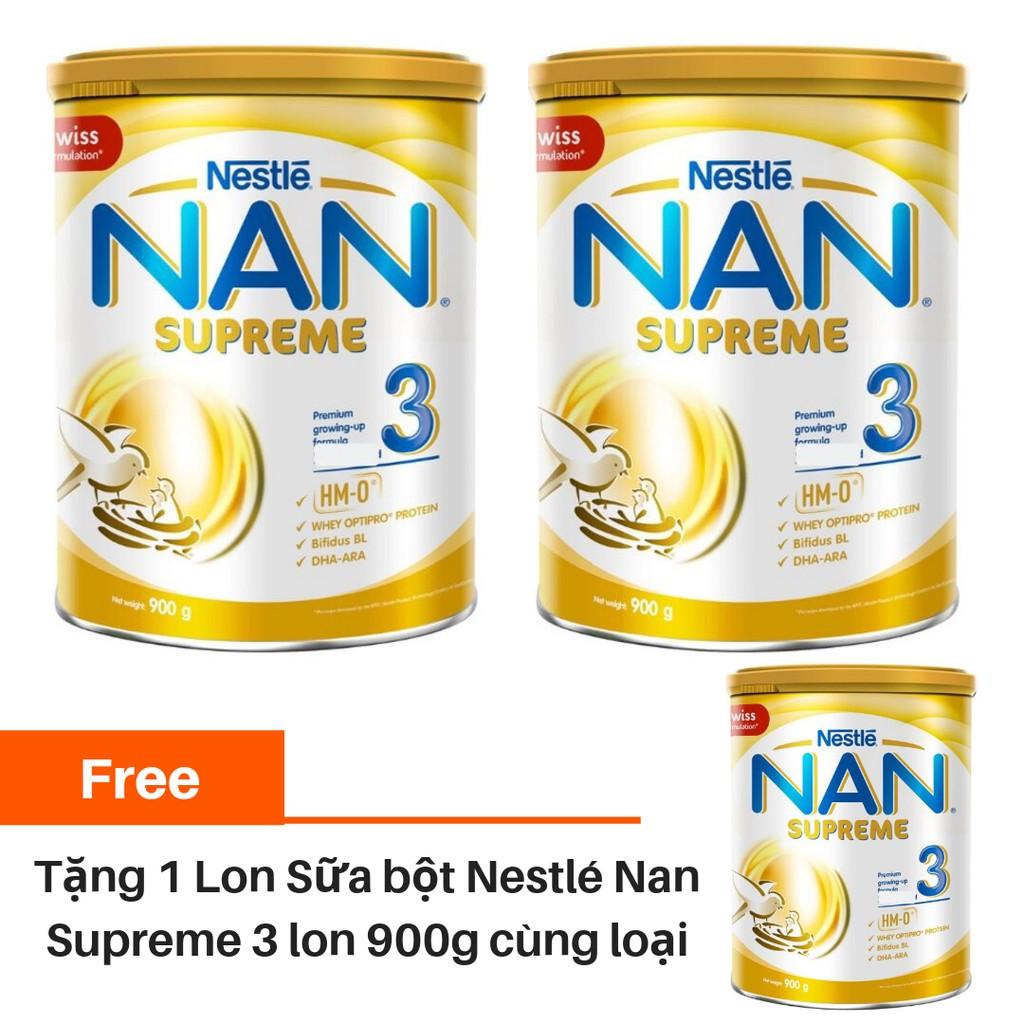 [Mua 2 tặng 1] Combo 2 lon Sữa bột Nan Supreme 3 900g/lon Tặng 1 lon Sữa bột Nan Supreme 3 900g