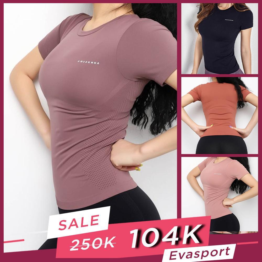 Áo tập gym yoga nữ Body Fit AMI vải Dệt Kim bó sát cơ thể thấm hút mồ hôi EvaSport_vn
