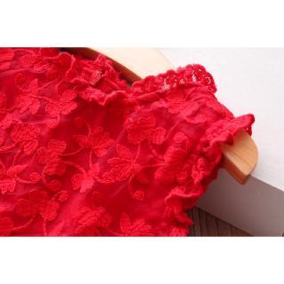 Đầm dáng xòe kiểu công chúa phối ren dễ thương cho bé gái