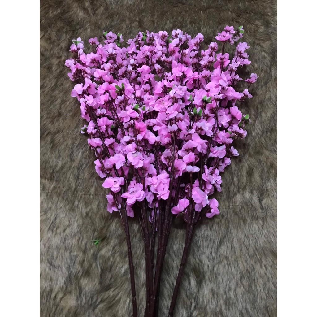 SET 5 CÀNH - Cành hoa mai vàng, Cành hoa đào hồng giả dài 1m hàng đẹp loại 1