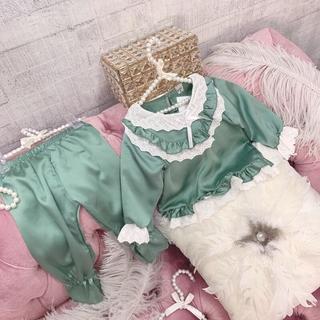 Bộ Ngủ Pijama Lụa Satin Hàn Phối Viền Ren Dài Tay Bé Gái [BN20] - Babi mama thumbnail