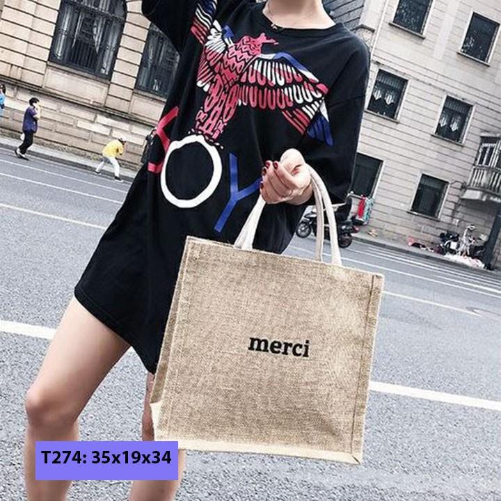 [ SO HOT ] 🌈🍓🍭Túi xách túi cói Merci phong cách Vintage ! đi biển,đi chợ,đi chơi...-W161-E9T3