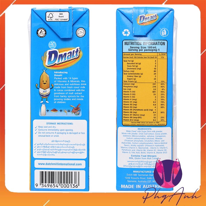 Sữa lúa mạch Úc Dmalt Chocolate 1 Lít
