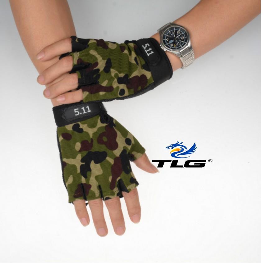 Găng tay hở ngón thể thao lái xe TI 214 (ngụy) tặng khăn phượt đa năng M 275