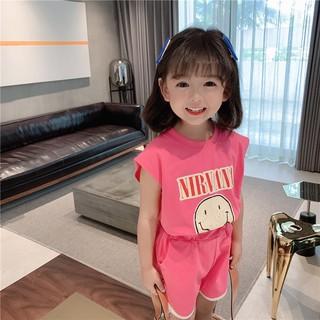 Bộ quần áo bé gái chất co giãn mềm mịn thoáng mát 8-24kg mặc hè