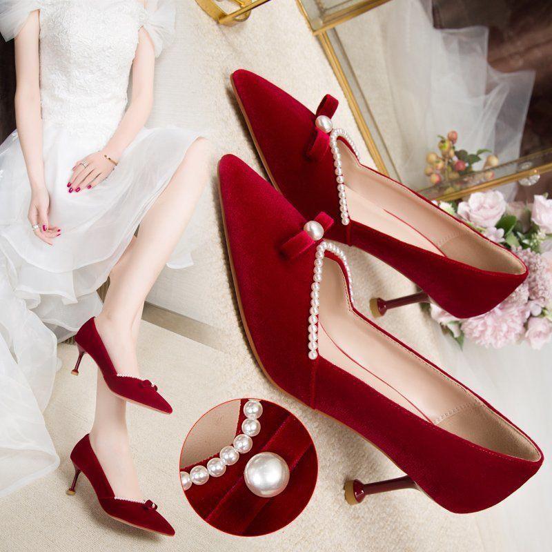 Giày Cao Gót Cô Dâu Màu Đỏ Rượu Vang Đính Nơ Thời Trang 2021