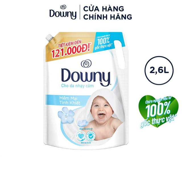 Nước xả Downy Dịu Nhẹ túi 2.6L cho Da Nhạy Cảm