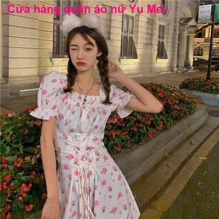 chân váyMùa hè tình yêu đầu tiên túi hoa váy ren mỏng màu hồng in eo ngắn là phụ nữ tính khí