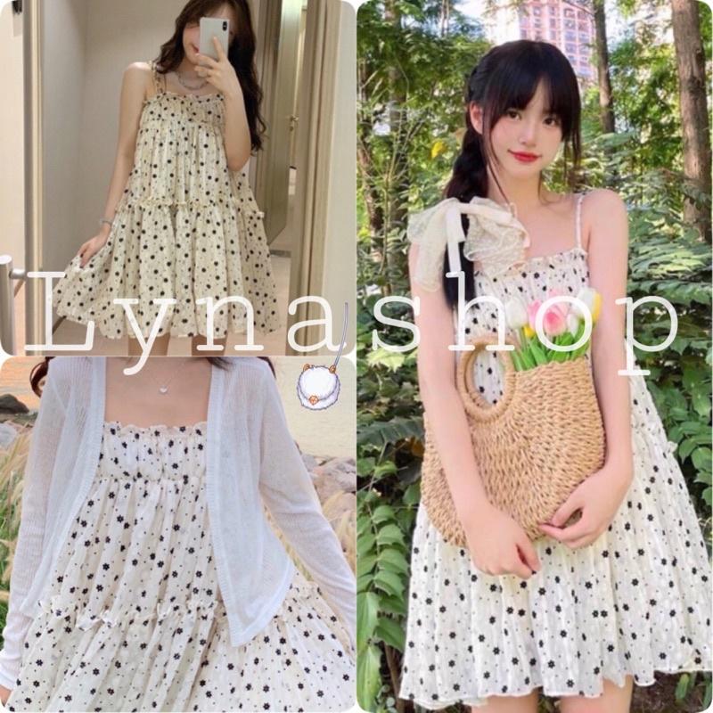 Váy 2 dây hoa nhí 🍉đầm babydoll 2 dây có họa tiết bông hoa nhỏ chất liệu vải co giãn nhẹ thiết kế theo style tiểu thư