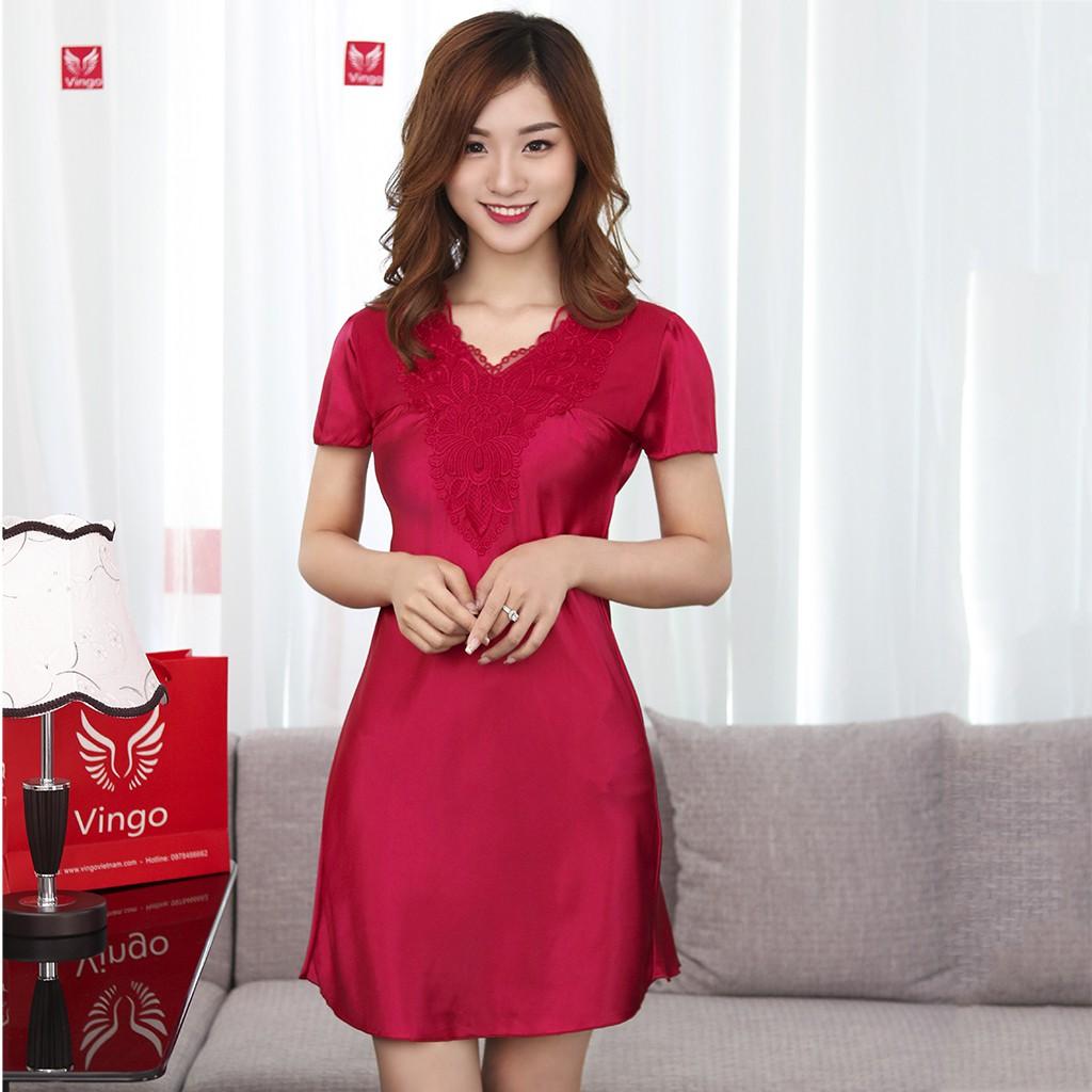 Váy Ngủ Lụa Cộc Tay Ren Hoa Cao Cấp