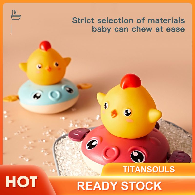 [Ready] Water temperature measuring children's bath pull cord bathroom puffer fish little fat chicken swimming spray water play toys TTS