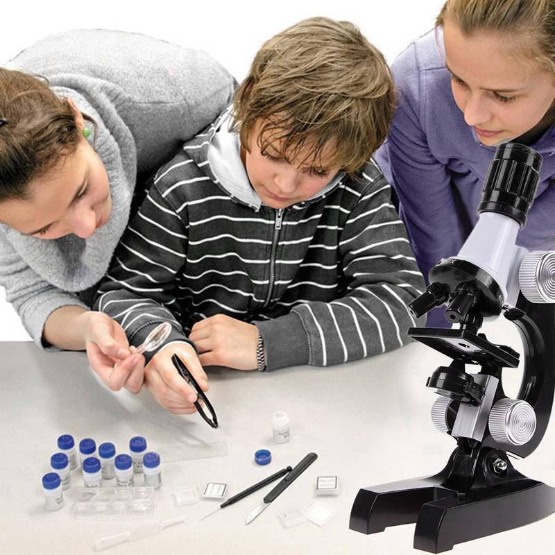 Coolmall0 Science Kits for Kids Beginner Microscope with LED Kids Educational Toy