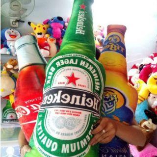 Gấu Bông Gối ôm Chai bia heniken 3D cao 1M