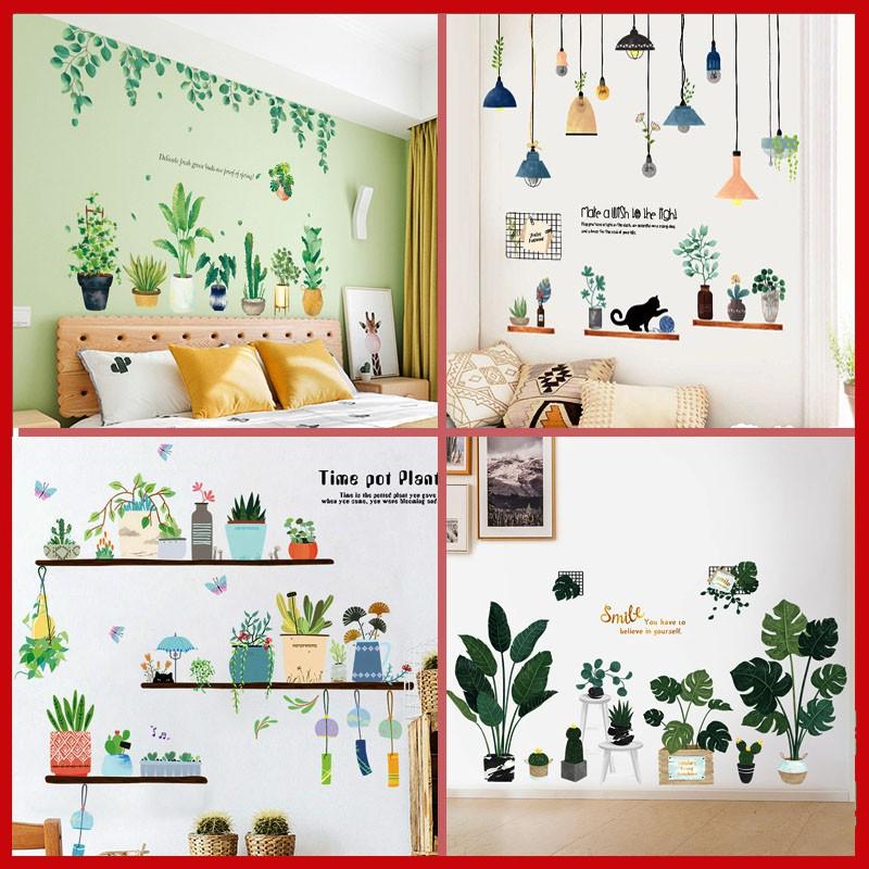 Decal tranh dán tường trang trí decor phòng ngủ cho bé như Hàn Quốc, tấm giấy sticker hình lá cây xanh size lớn