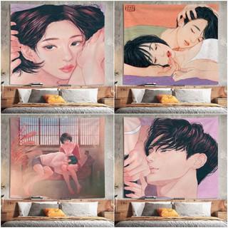 [ĐẸP-SẴN] Thảm treo tường trang trí in hình cặp đôi Tranh vải decor phòng cặp đôi Zipcy (150x130cm, TẶNG móc treo)