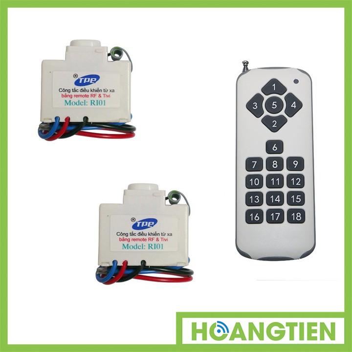 Bộ 2 công tắc điều khiển từ xa IR + RF TPE RI01 + Remote 18 nút R3.4