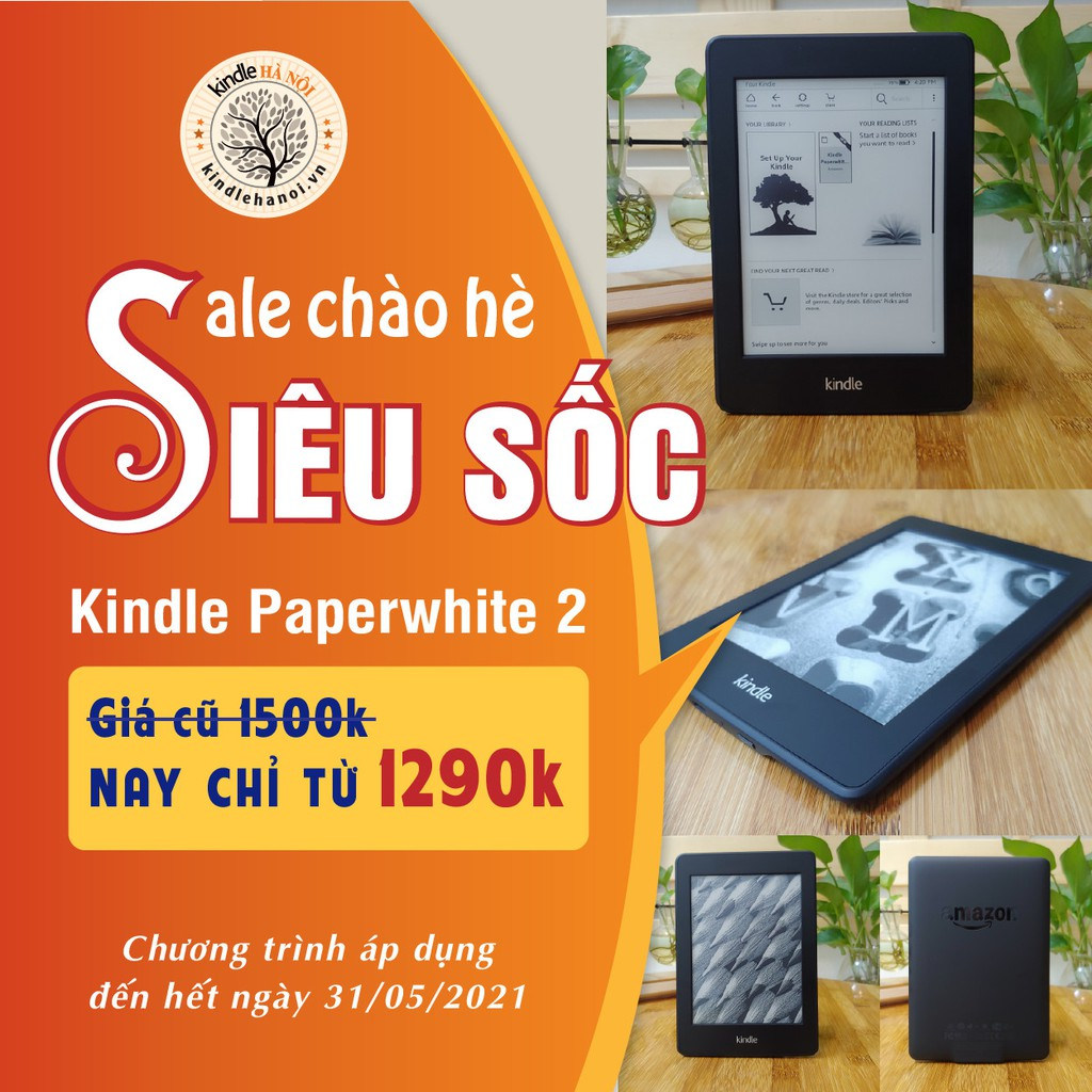 Máy đọc sách Kindle Paperwhite Gen 2 (6th) có đèn nền màn hình 6inch độ phân giải 212PPI RAM 512mb bộ nhớ 2/4GB lưu trữ
