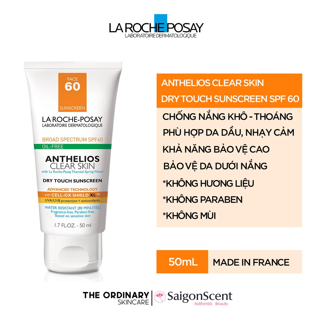 Kem chống nắng La Roche Posay Anthelios Clear Skin Dry Touch Sunscreen SPF 60 ( 50mL )