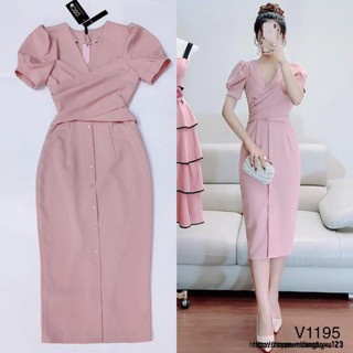 Đầm nữ hồng cổ chéo V1195 Mie Design kèm ảnh thật
