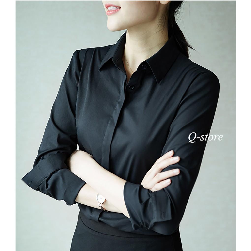 Mặc gì đẹp: Lịch sự với Áo sơ mi nữ công sở màu trắng dài tay dáng Hàn Quốc