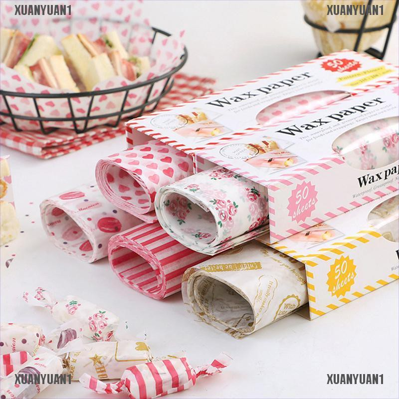 【XUANYUAN1】50Pcs Wax Paper Grease Food Wrapping Paper For Bread Sandwich Oilpa