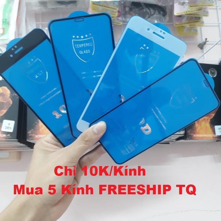 [Giá Sốc] Kính Cường Lực Iphone 10D FULL MÀN Hạn Chế Bám Vân Cho Iphone 6/6s/6 Plus/6sPlus/7/8/7 Plus/8Plus/X/XR/XS Max