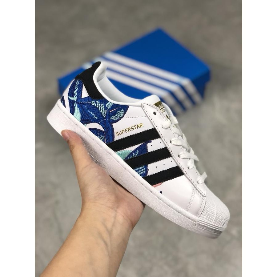 adidas Superstar Flower Embroidery White Blue