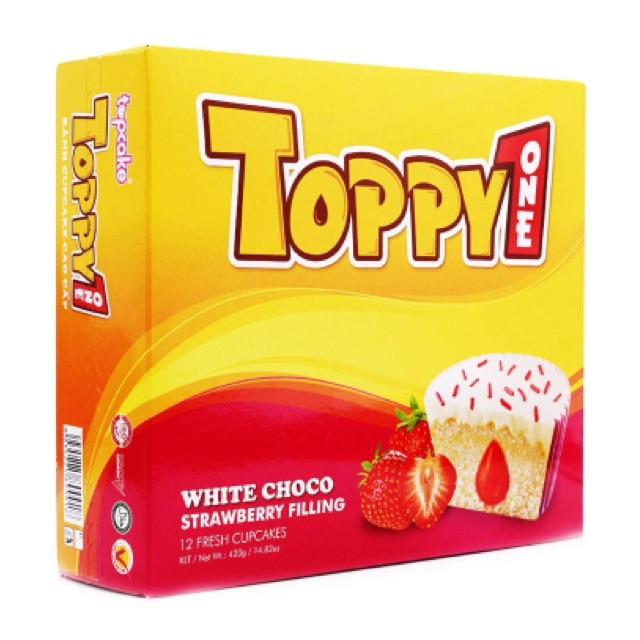 Bánh cupcake phủ sô cô la trắng nhân kem dâu Toppy One 420g - 2562601 , 440744247 , 322_440744247 , 95000 , Banh-cupcake-phu-so-co-la-trang-nhan-kem-dau-Toppy-One-420g-322_440744247 , shopee.vn , Bánh cupcake phủ sô cô la trắng nhân kem dâu Toppy One 420g