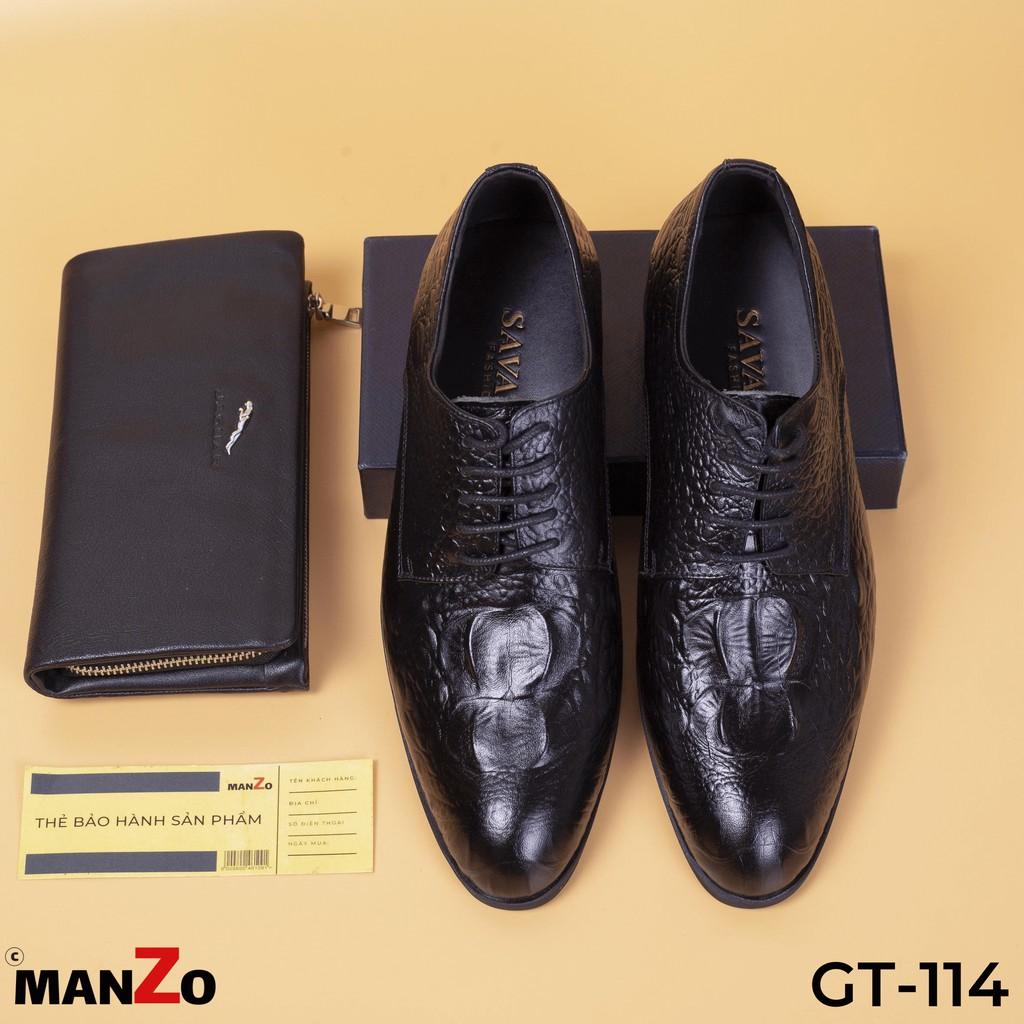 [DA BÒ THẬT] Giày tây nam da bò dập vân cá sấu cao cấp GT114 Manzo