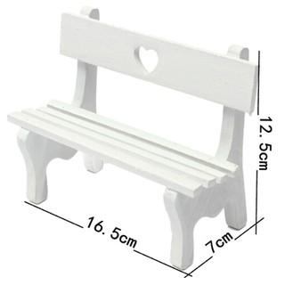Mini fairy garden wooden chair bench model wedding doll house decor kids