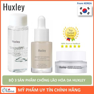 Bô 3 Sa n Phâ m Chô ng La o Ho a Da Huxley Mini (Toner - Serum Oil Like - Anti Gravity Cream)