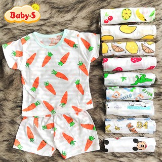 Bộ cotton sợi tre cộc tay cho bé trai và bé gái 2-13kg chất thun co giãn mát mẻ đủ họa tiết đáng yêu Baby-S – SBVN036