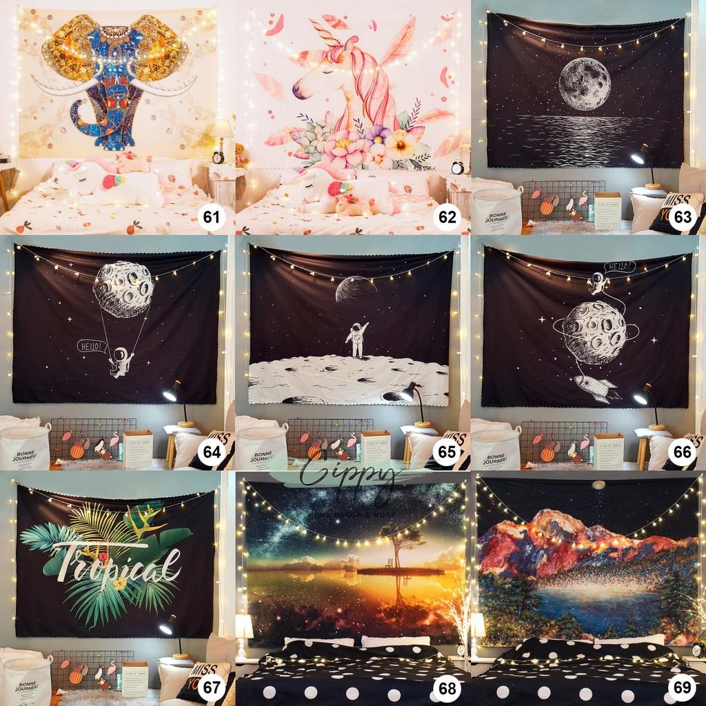 Tranh vải treo tường (41-60) trang trí phòng decor vintage (240 mẫu) - tặng kèm dây đèn led - Gippy Decor
