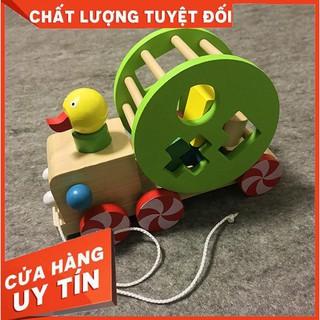 [HÀNG LOẠI 1] Đồ chơi Xe kéo con vịt thả hình khối – Phát triển tư duy cho bé
