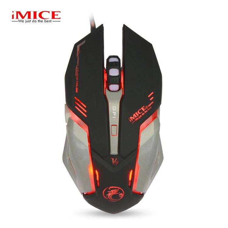 Mouse Gaming IMICE V8 Dây dù - Led 7 màu - Có phần mềm điều khiển LED