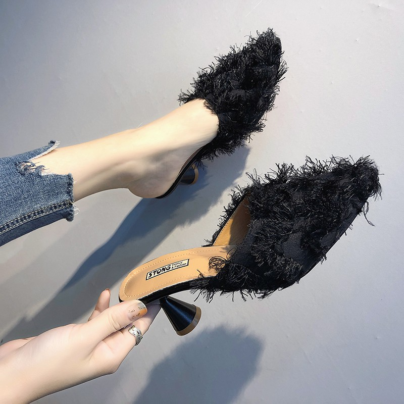 Good with fur female sandals fall 2018 new Korean version of wild only