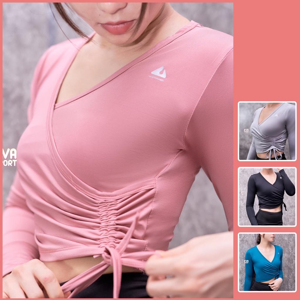 Mặc gì đẹp: Dẻo dai với Áo Thun Croptop Tay Dài Thể Thao Nữ Tập Gym Yoga Aerobic Zumba dây rút Ôm Body Evasport